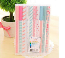 10 Gel Pens Colorful Kawaii Korean Stationary Design With Plastic Box 0.38 mm