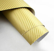 "24""x50"" 3D golden Carbon Fiber Vinyl Car Wrap Sheet Roll Film Sticker Decal"