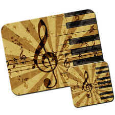 Grunge Music Harmony Notes Mouse Pad / Mat & Coaster