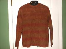 NWT Luxury PERRY ELLIS Redwood CABLED SWEATER Raised Design $98 RETAIL Thick! LG