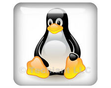 "Linux Tux Crystalized White 1""x1"" Domed Case Badge / Sticker Logo"