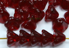 25 Garnet Czech Glass Beads Baby Bell Flower 8x6mm