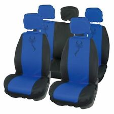BLUE / BLACK, Tribal Scorpion Design, Car Seat Covers Set, Front and Rear