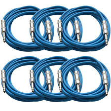 "SEISMIC AUDIO New 6 PACK Blue 1/4"" TRS 10' Patch Cables"