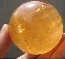 Natural Citrine Calcite Quartz Crystal Sphere Ball Healing Gemstone 40MM +Stand