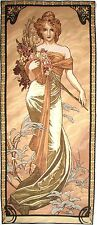 "ALPHONSE MUCHA ""SPRING"" 60"" X 25"" FULLY LINED BELGIAN TAPESTRY WALL HANGING"