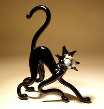 """Blown Glass """"Murano"""" Art Figurine Animal Black Cat with a Curved Back"""