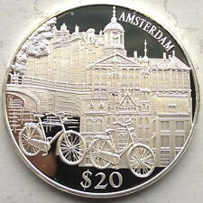 Liberia 2000 Amsterdam 20 Dollars Silver Coin,Proof