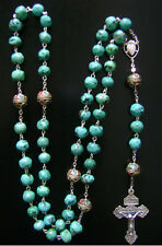 Rare Beautiful Beads & Real Turquoise Sterling 925 Silver Rosary Cross Gift Box