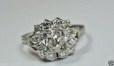 Antique Vintage Art Deco Diamond Engagement Ring Platinum Ring Size 6.5 EGL USA