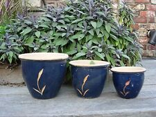 3 Blue Ceramic Glazed Garden Plant Pots Leaf Design 22 - 16 cm diameter (854i)