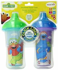 Munchkin 2 Count Sesame Street Click Lock Insulated Sippy Cup, 9 Ounce, New