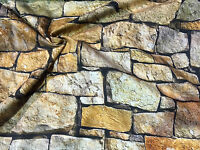 """STONE WALL brick wall Curtain Upholstery Cotton Fabric Material 55"""" wide digital"""