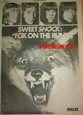 The SWEET Fox on The Run 1975 UK Poster size Press ADVERT 16x12 inches