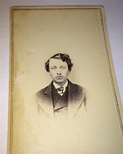Antique Civil War Era ID'D Gentleman Messy Hair! Conneaut, Ohio! Stamp CDV Photo