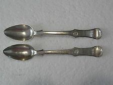 19th C PAIR ANTIQUE PERSIAN TURKISH OTTOMAN STERLING SILVER TEA SPOONS- 65 grams