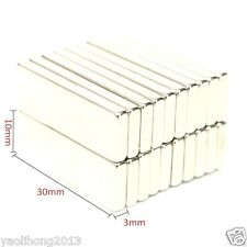 20Pcs Super Strong Block Cuboid Magnets 30 x 10 x 3 mm Rare Earth Neodymium N50