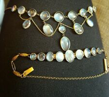 Antique festoon gold moonstone necklace & matching moonstone bracelet 8kt tested