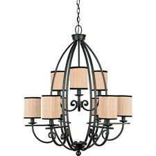 "Quoizel GRY5009SN - Grayson Chandelier 31""D Serengeti Finish, Iron, 9-Light"