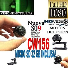 TELECAMERA SPIA MICROCAMERA FULLHD NASCOSTA NIGHT VISION MINI SQ9 + SD 32GB