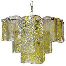 Camer Murano Yellow and Clear Textured Panel Glass Chandelier