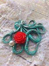 Vintage Inspired Verdigris Patina Octopus Brooch Nautical Mermaid Pinup Beach