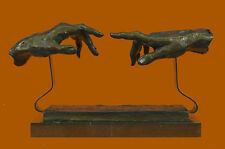 Signed Dali Bases on Michelangelo Creation of Man Bronze Sculpture Marble Statue