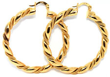 NEW 18CT YELLOW GOLD FILLED TWIST LARGE CREOLE EAR HOOP EARRINGS JEWELRY
