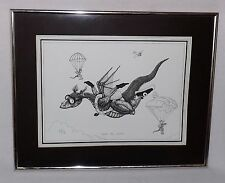 "VINTAGE DRAGON SKYDIVING PEN & INK ART PRINT ""ABOVE THE CLOUDS"" FRAMED-MATTESON"