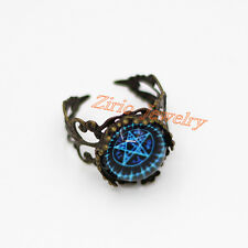 Witchcraft Blue Pentacle Pentagram Star Glass Art Ring Wiccan Pagan Jewellery