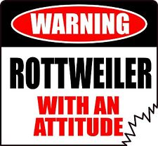 """WARNING ROTTWEILER WITH AN ATTITUDE 4"""" TATTERED EDGE DOG CANINE STICKER"""