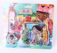 New 1set cute girl Wristwatch watch and Purses Wallets Children Gifts
