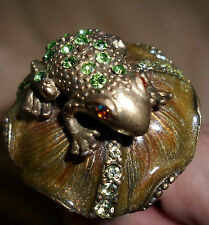 Unique Enameled w/ Rhinestones Frog on a Lily Pad Wine Bottle Stopper-Stunning!!