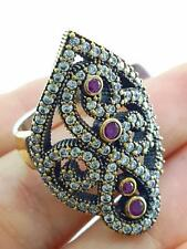 925 STERLING SILVER SIZE 7 RUBY RING TURKISH HANDMADE VICTORIAN JEWELRY R2314
