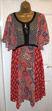 NEW LADIES GEORGE DRESS SIZE 14,Floral Chiffon Kimono style holiday Dress
