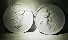 PAIR OF ROYAL COPENHAGEN WHITE BISQUE ANGEL WALL PLAQUES