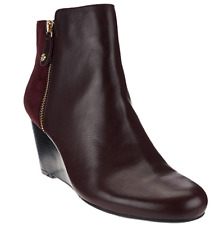 Isaac Mizrahi Live! Leather & Suede Wedge Ankle Boots 7.5M Bordeaux A268199