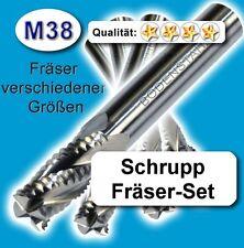 Schrupp-Fräsersatz, 5+6+8+10mm Schaftfräser HPC Metall Kunststoff hochl. Z=4