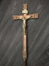 ANTIQUE GOLD BRASS CATHOLIC CHURCH ALTAR PROCESSIONAL CROSS WITH POLE