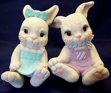 "Ceramic Bunny Shelf Sitters Vintage 80s Pastel Spring Easter Decor Large 9"" Tall"