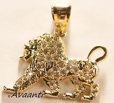 Real 10k Gold FULL BODY LION Pendant Charm Piece with Cubic Zirconia