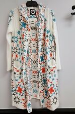 BIYA JOHNNY WAS Size S White Embroidered Star Long Hoodie Wrap Cardigan Top