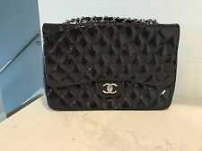 Authentic Rare Chanel Classic Patent Caviar Jumbo Handbag Purse In Dark Purple
