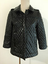 SEE BY CHLOE Quilted Black Patent Polyethylene Jacket Coat Size 4