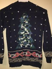 Arlando Women's L 12-14 Blue Sweater Winter Christmas Tree Embellished Pullover