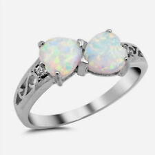 USA Seller Hearts Ring Sterling Silver 925 Best Jewelry White Lab Opal Size 8
