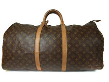 Auth LOUIS VUITTON KEEPALL 60 Monogram Canvas, Leather Travel Bag, Boston Bag