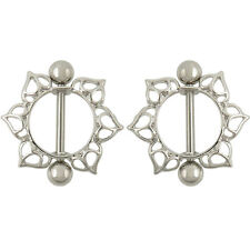 2X Surgical Steel Flower Circle Piercing Nipple Shield Ring Bar TSUK