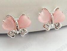 U CLIP ON stud DIAMANTE crystal PINK glass wings BUTTERFLY EARRINGS rhinestone