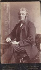 ANTIQUE CDV PHOTO. WHISKERED MAN. HAND ON BOOK OR ALBUM.  KILMARNOCK STUDIO